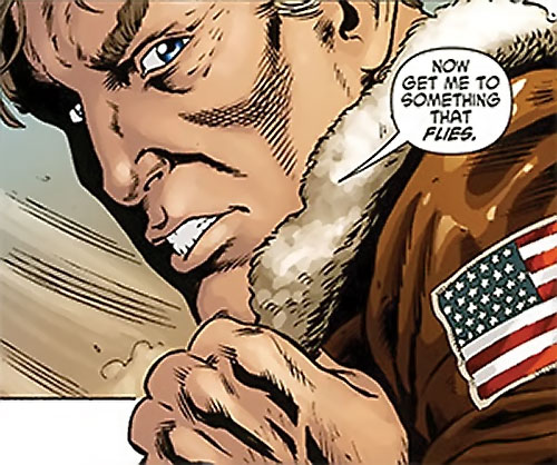 Steve Trevor (Wonder Woman ally) (Post-Crisis DC Comics) putting on a bomber jacket