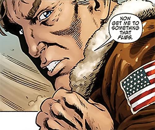 Steve Trevor (Wonder Woman ally) (Post-Crisis DC Comics) putting on a bomber jacket