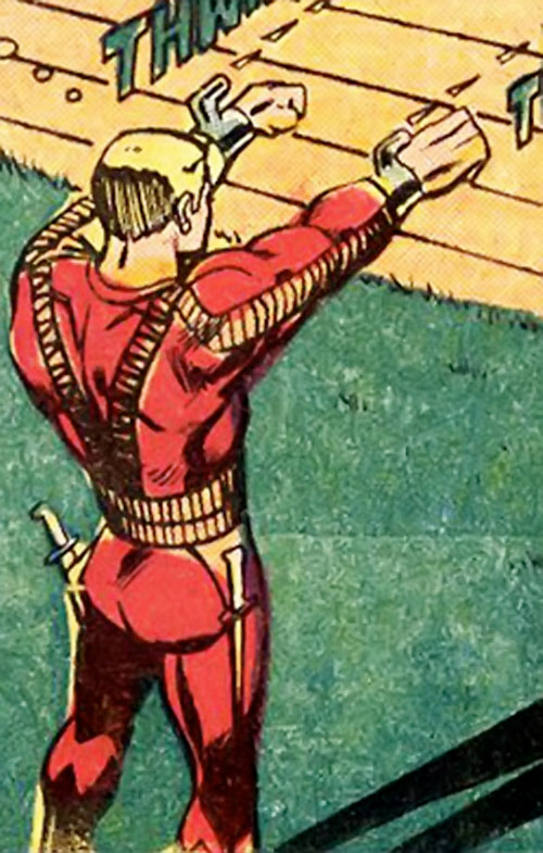 Stiletto (Luke Cage enemy) (Marvel Comics) firing explosive projectiles