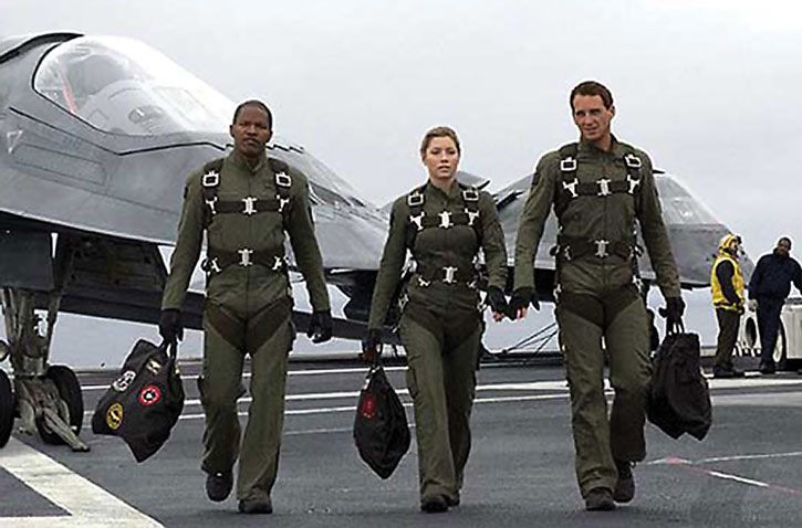 Ben Gannon (Josh Lucas), Kara Wade (Jessica Biel) and Henry Purcell (Jamie Foxx) in the movie Stealth
