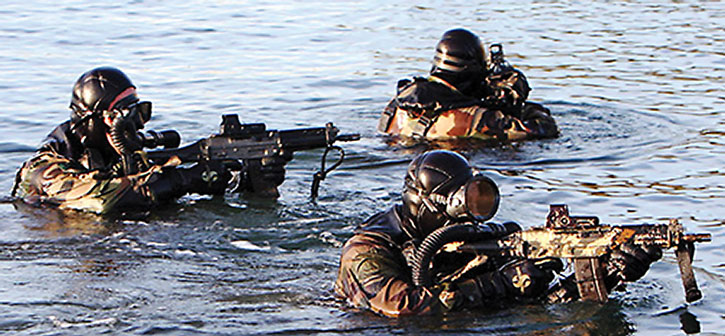 French special force emerging from the water