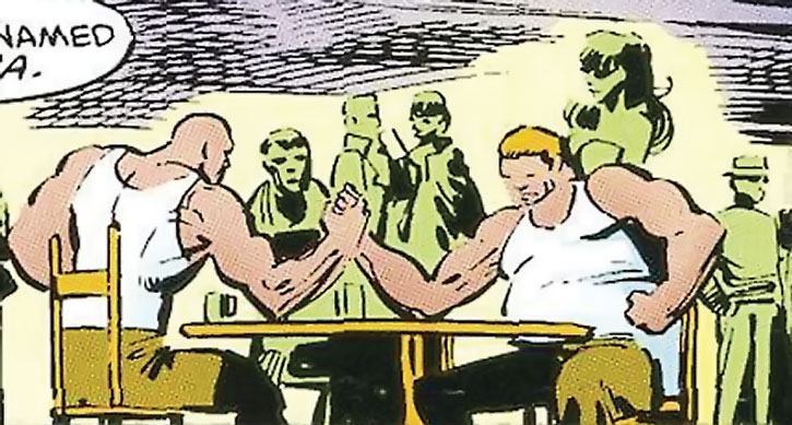 Large thugs arm-wrestling at Josie's bar