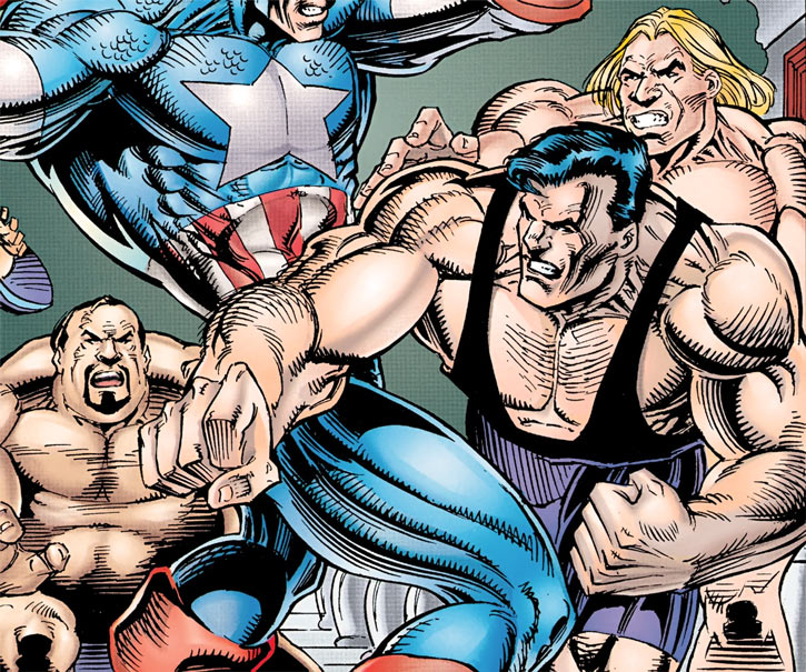 Very muscular thugs vs. Captain America