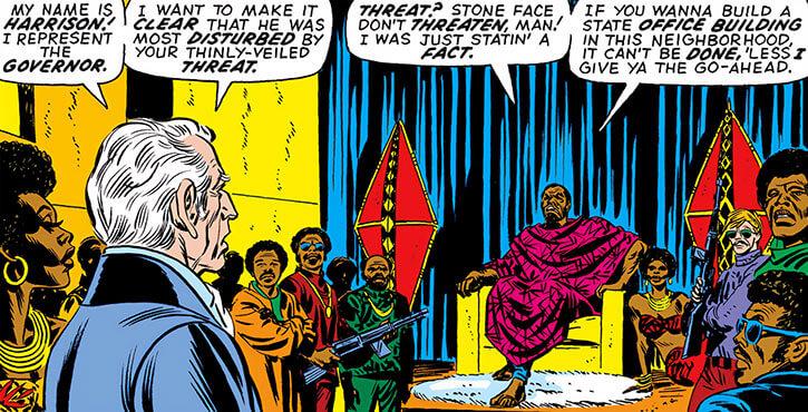Stoneface (Marvel Comics) (Falcon & Captain America villain) with pseudo-African decor