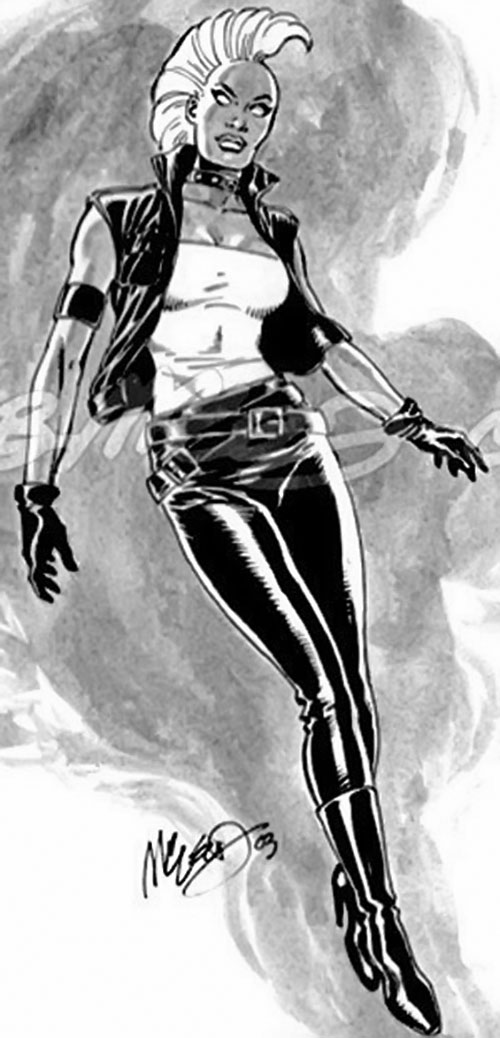 Storm of the X-Men (Marvel Comics) punk look McLeod B&W sketch