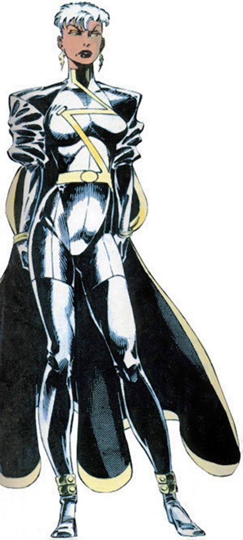 Storm of the X-Men (Marvel Comics) with short hair and black leather