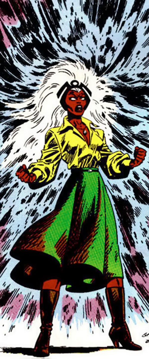 Storm of the X-Men (Marvel Comics) in a green skirt and yellow blouse