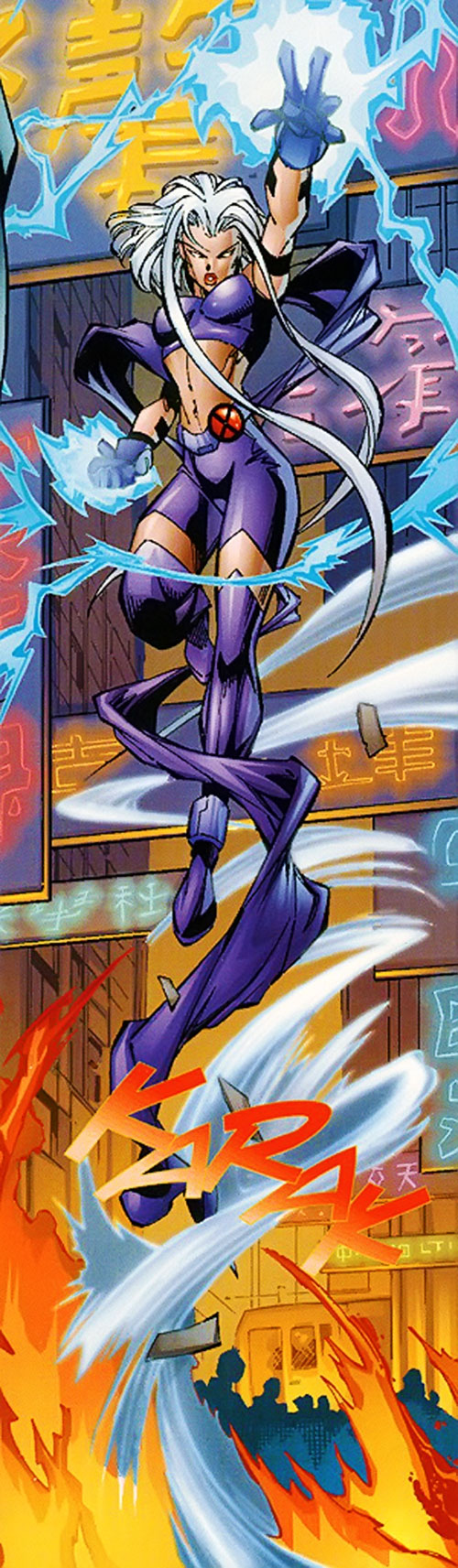 Storm of the X-Men (Marvel Comics) flying and summoning winds