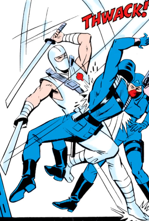 Storm Shadow - GI Joe - Marvel Comics - Slashing two Cobra soldiers