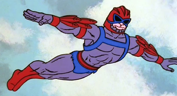 Stratos (He-Man and the masters of the universe cartoon) flying arms stretched