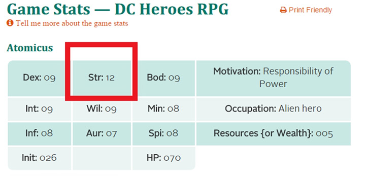 Strength score in a DC Heroes character sheet