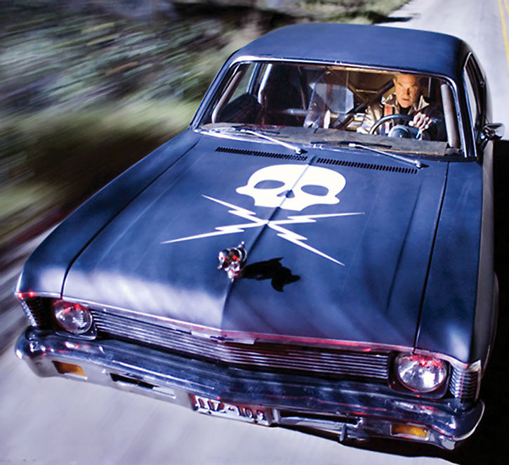 Stuntman Mike (Kurt Russell) in his deathproof car