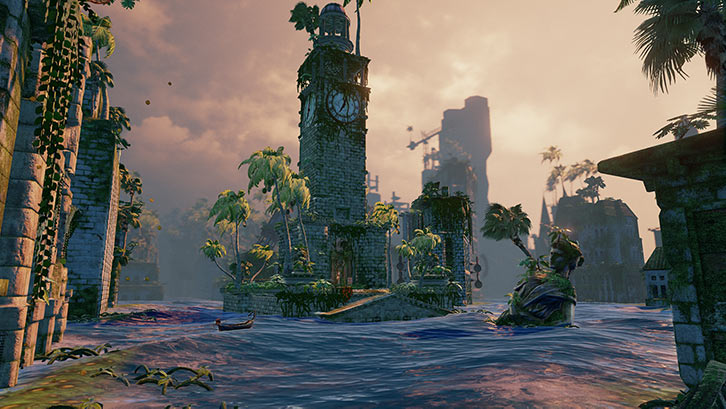 Submerged video game - Clock tower and statue