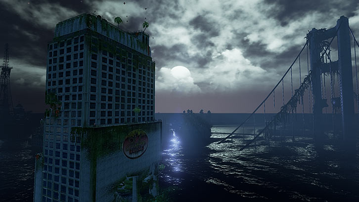 Submerged video game - Big hotel and bridge under the moon