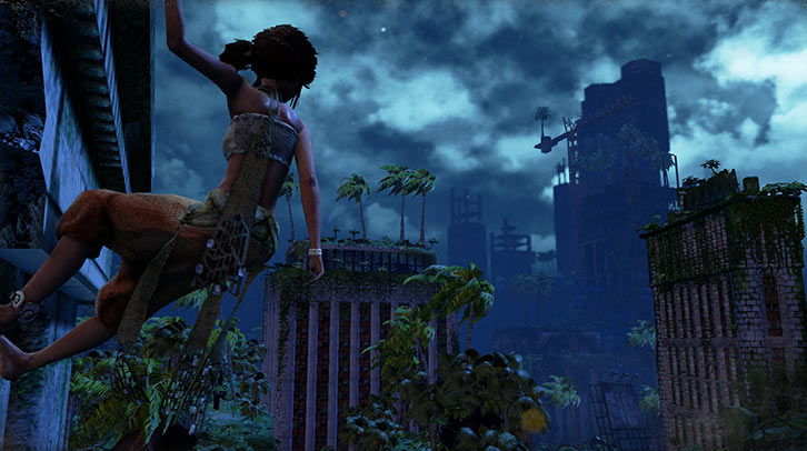 Submerged video game - Miku climbs the ruins