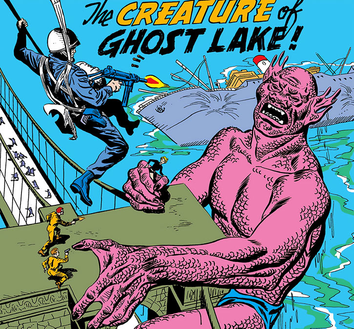 The Silver Age Suicide Squad vs a giant scaly humanoid on a bridge