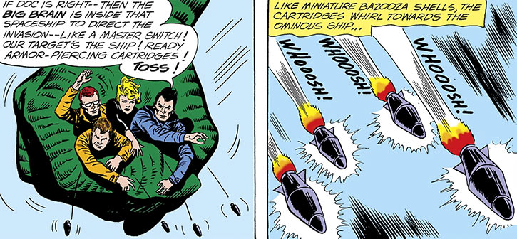 The Silver Age Suicide Squad throws hand rockets