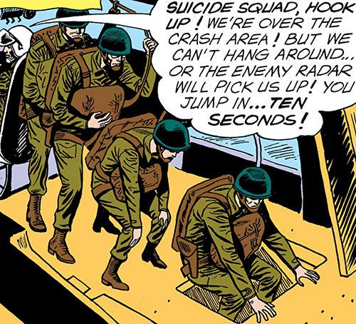 Suicide Squad (Mission X) (Pre-Crisis DC Comics) about to parachute