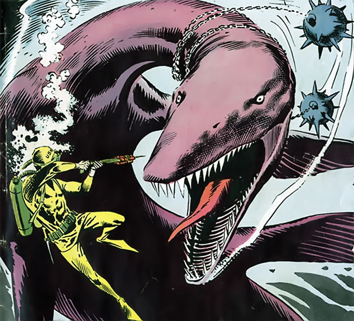Suicide Squad (War that Time Forgot version) - giant pleiosaur vs. frogmen and mines