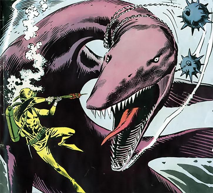 Suicide Squad (War that Time Forgot version) - giant pleiosaur vs. frogmen and mines
