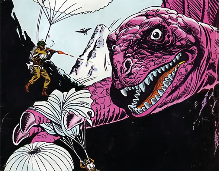 Suicide Squad (War that Time Forgot version) - a dinosaur tries to catch parachutists
