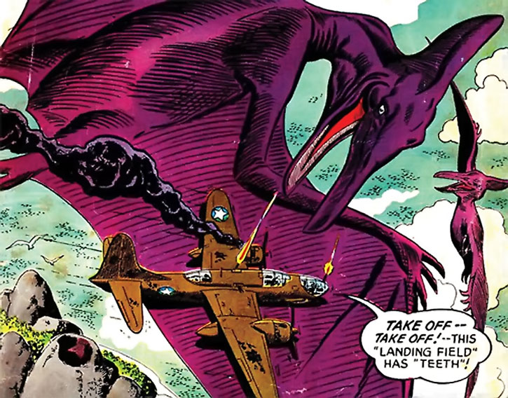 Suicide Squad (War that Time Forgot version) - a large plane on the wing of a mega pterosaur
