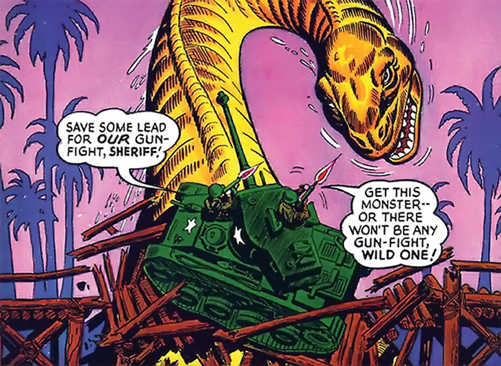 Suicide Squad (War that Time Forgot version) - long-necked orange dinosaur vs. a tank on a bridge