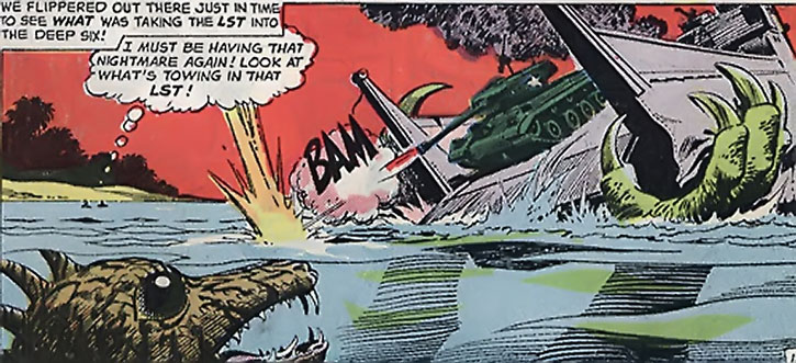 Suicide Squad (War that Time Forgot version) - a dinosaur sinks a LST boat