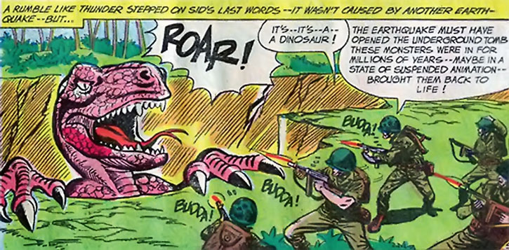 Suicide Squad (War that Time Forgot version) - marines shoot a dinosaur emerging from a crevasse