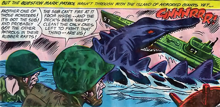 Suicide Squad (War that Time Forgot version) - marine dinosaur vs. a submarine and marines