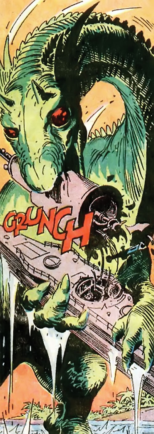 War that time forgot (DC Comics) - mega dinosaur biting the tower off a submarine
