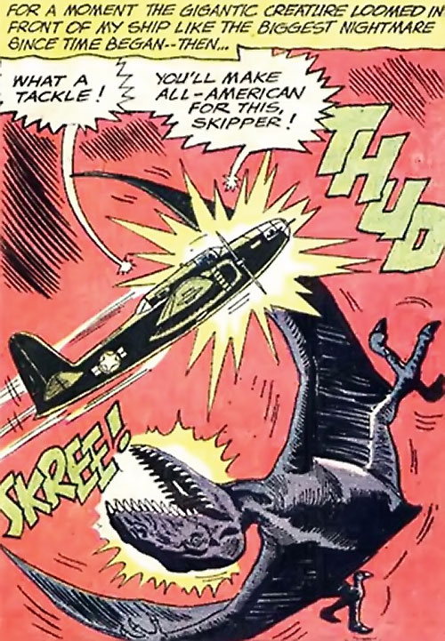 War that time forgot (DC Comics) - a plane rams a mega-pterodactyl