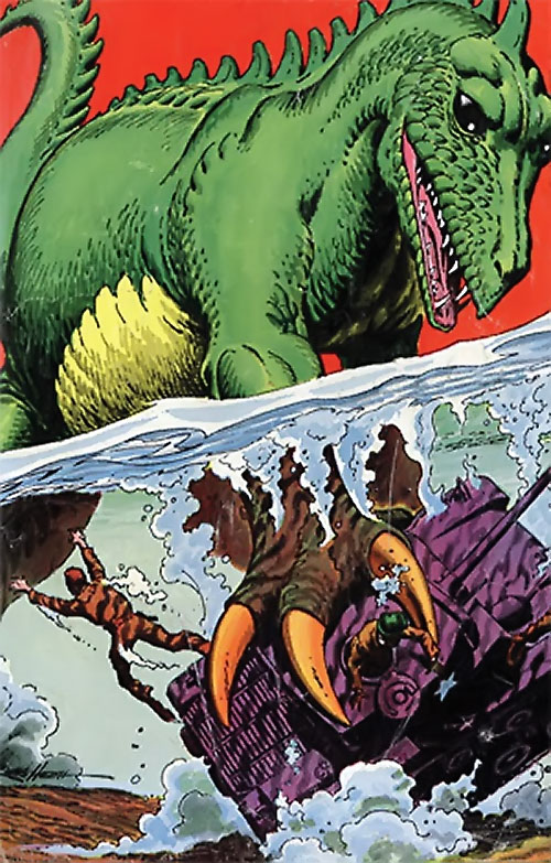 War that time forgot (DC Comics) - giant dinosaur attempts to drown a tank