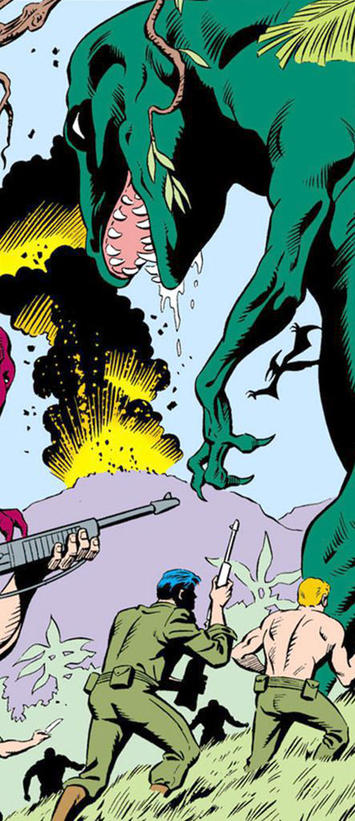 War that time forgot (DC Comics) - soldiers and a drooling green carnosaur