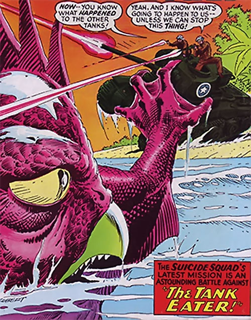 War that time forgot (DC Comics) - tank vs. beaked magenta giant dinosaur