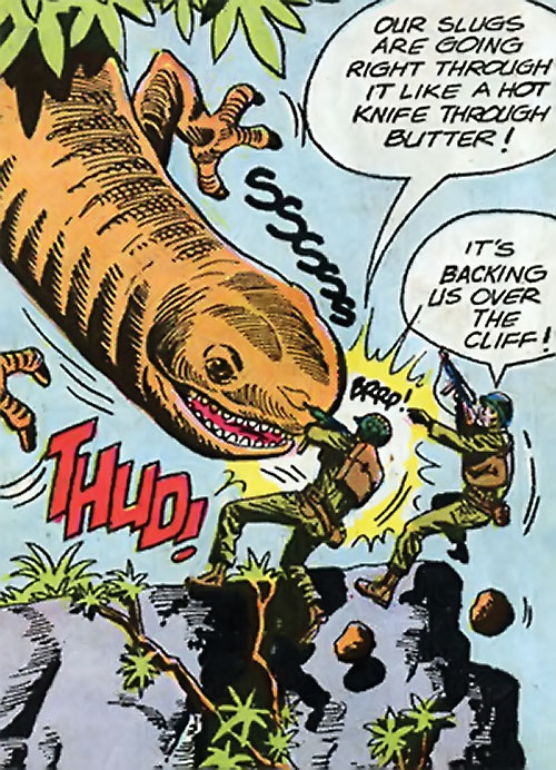 War that time forgot (DC Comics) - two soldiers vs. giant orange amphibian