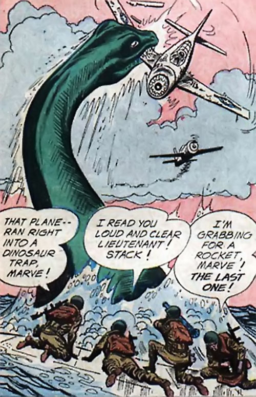 War that time forgot (DC Comics) - giant pleiosaur attacking US fighters