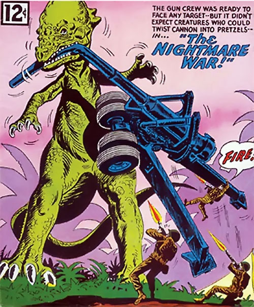 War that time forgot (DC Comics) - dinosaur vs. Long Tom cannon