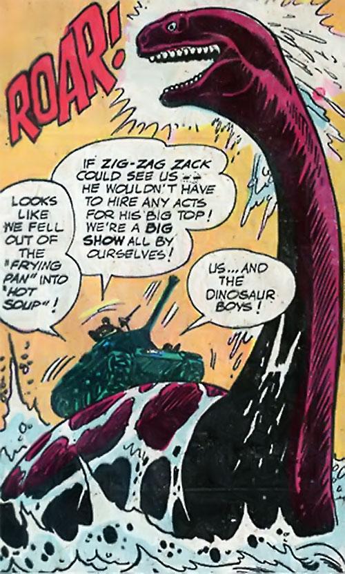 War that time forgot (DC Comics) - tank on the back of a giant pleiosaur