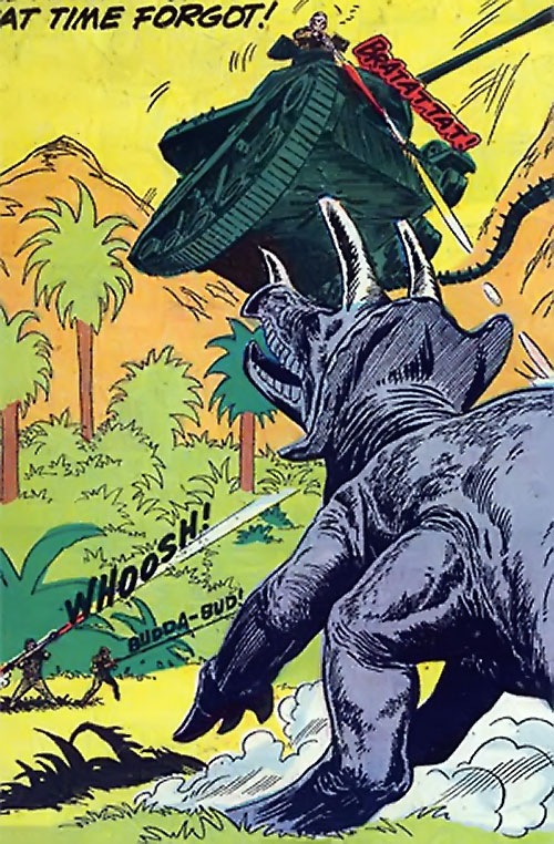 War that time forgot (DC Comics) - tank and bazooka vs. triceratops