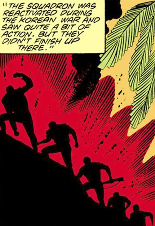 Suicide Squadron (DC Comics) soldiers in a jungle near an erupting volcano