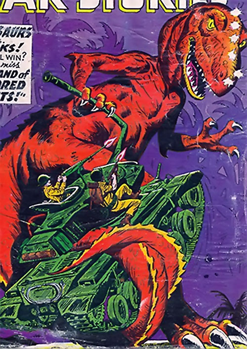 War that time forgot (DC Comics) - tank vs. a red carnosaur