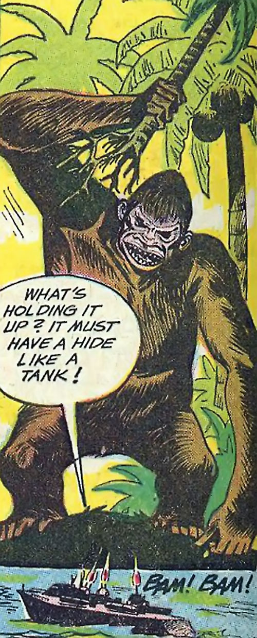 War that time forgot (DC Comics) - mega-ape attacking a boat with a tree