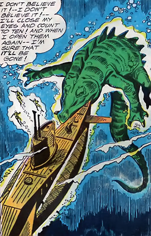 War that time forgot (DC Comics) - mega-crocodile biting a submarine