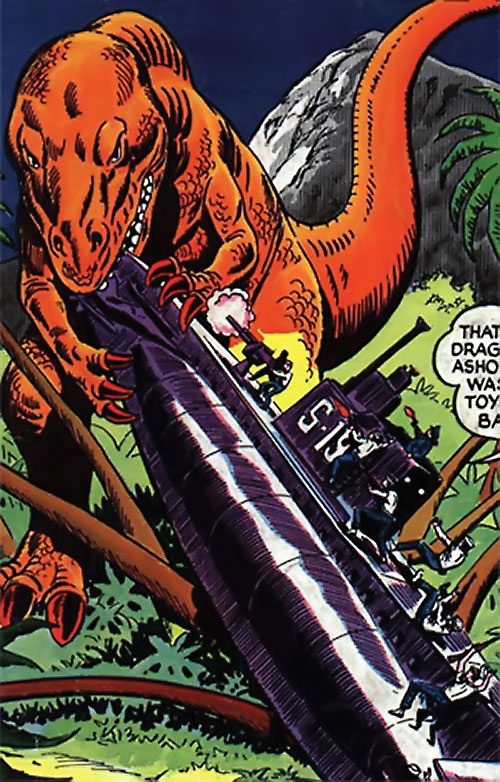 War that time forgot (DC Comics) - giant carnosaur dragging a submarine ashore