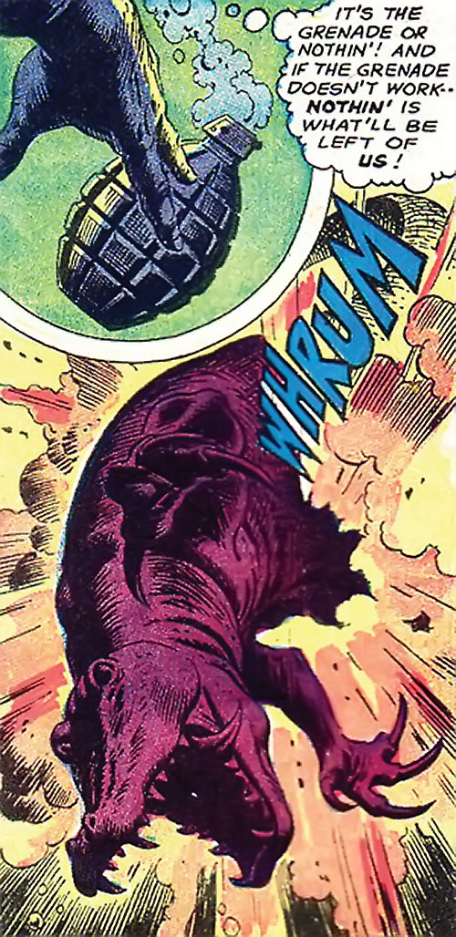 War that time forgot (DC Comics) - dinosaur blown open by a grenade
