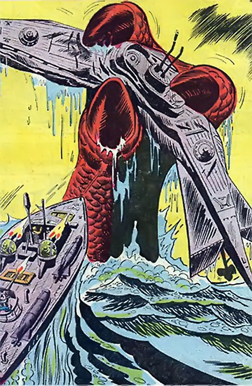 War that time forgot (DC Comics) - submarine grabbed by a mega sea monster