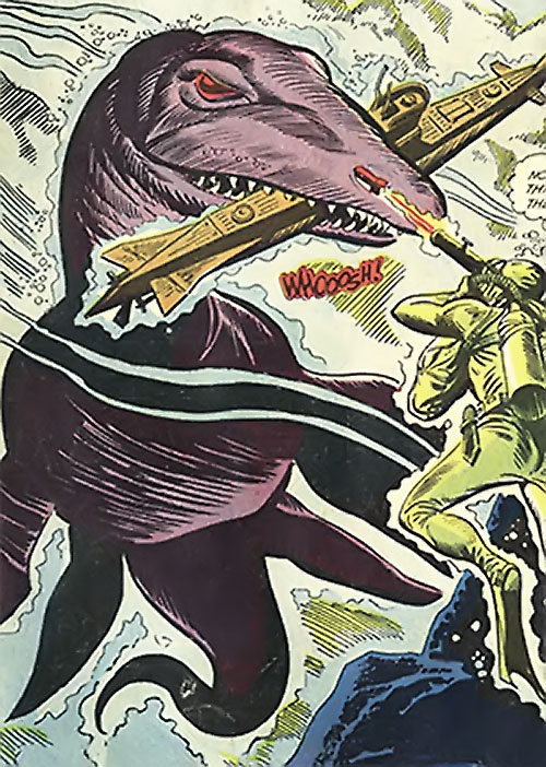 War that time forgot (DC Comics) - mega mosasaur attacking a submarine