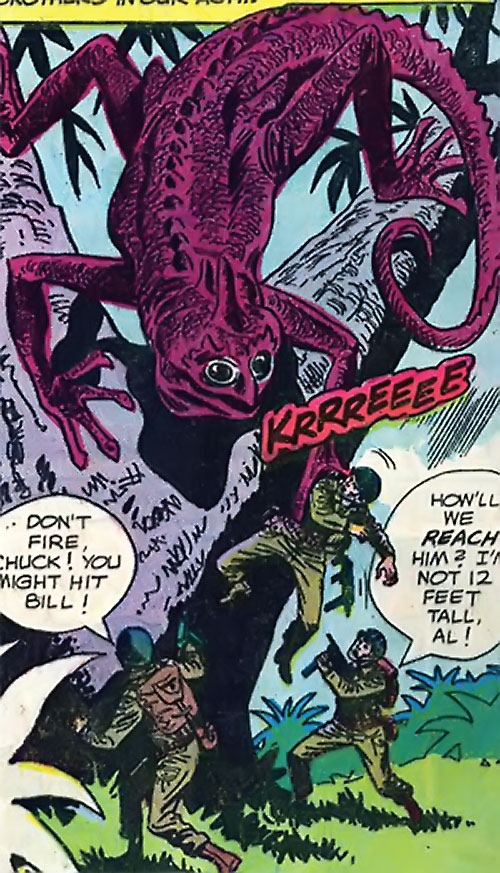 War that time forgot (DC Comics) - soldiers vs. a giant salamander in a tree