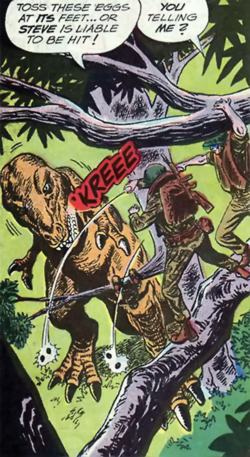 War that time forgot (DC Comics) - Flying Boots throwing grenades at a dinosaur